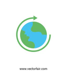world planet earth with arrow around flat style