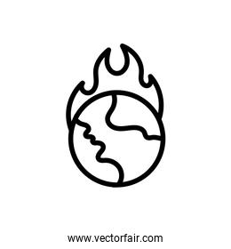 world planet earth with fire flames line style