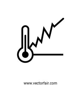 thermometer temperature with statistics graphic line style