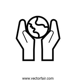 hands with world planet earth line style
