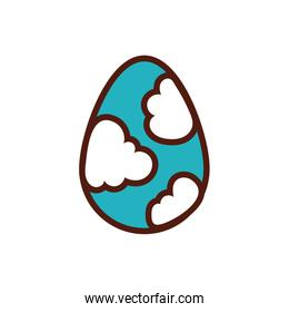 easter egg painted with clouds flat style