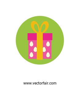 gift box present with eggs pattern block and flat style icon