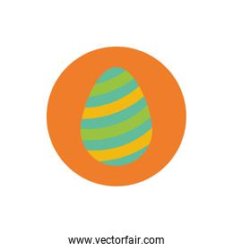 easter egg painted with stripes block and flat style over white