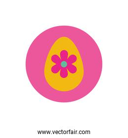 easter egg painted with flower block and flat style
