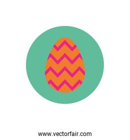 easter egg painted with geometric lines block and flat style