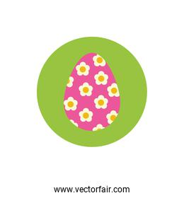 easter egg painted with stripes block and flat style