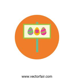 easter eggs painted in label block and flat style