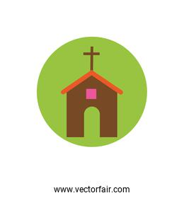 church religious building block and flat style