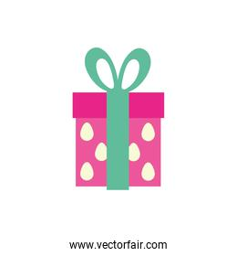 gift box present with eggs pattern flat style icon