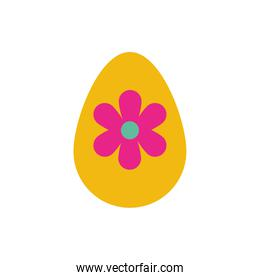 easter egg painted with flower flat style