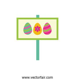 easter eggs painted in label flat style