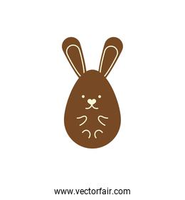chocolate rabbit of easter egg painted flat style