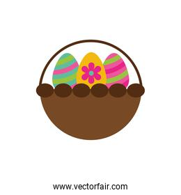 spring eggs painted in basket flat style