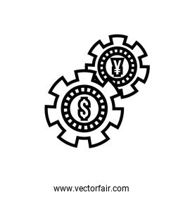money dollar and yen coins with gears line style