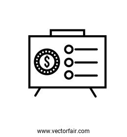 paper financial document with coin line style