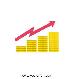 financial statistics bars with coins flat style