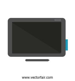 tablet with pencil flat style icon