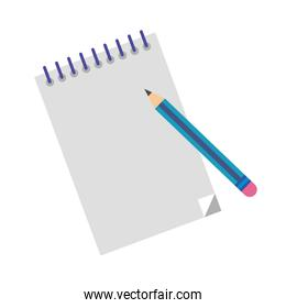notebook with pencil flat style icon