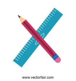 pencil and rule school supply flat style icon