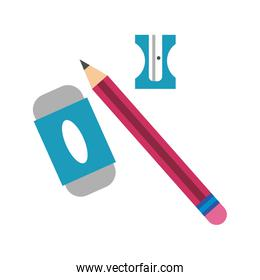 pencil with eraser and sharpener flat style