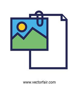 document file paper with picture line and fill style icon