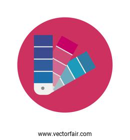 colors palette designer block and flat style icon