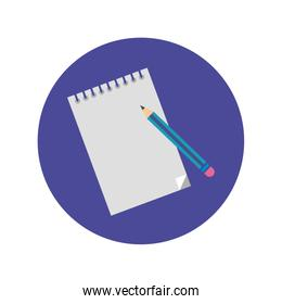 notebook with pencil block and flat style icon