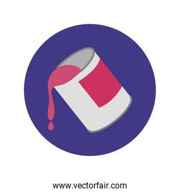 paint pot block and flat style icon