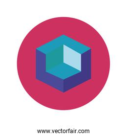 3d figure designer block and flat style icon