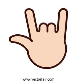 rock and roll hand signal line and fill  style