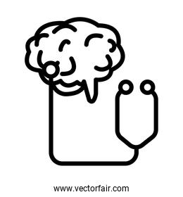 brain human with stethoscope line style icon