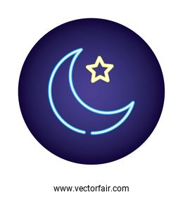 moon night with star neon light style icon