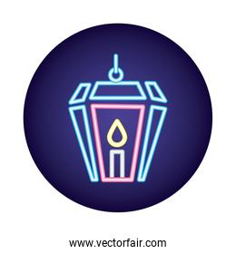 lamp with candle neon light style icon