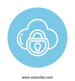 padlock with cloud, block and flat style icon