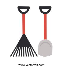 rake and shovel on white background