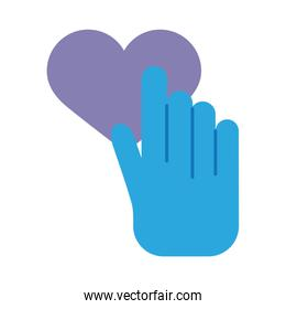 hand human indexing heart solidarity flat style