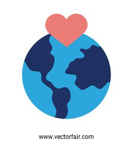 earth planet with heart solidarity flat style