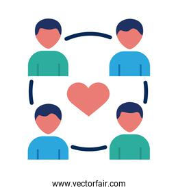 humans figures with heart solidarity flat style