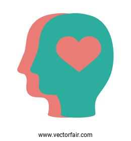 profiles humans with hearts solidarity flat and fill
