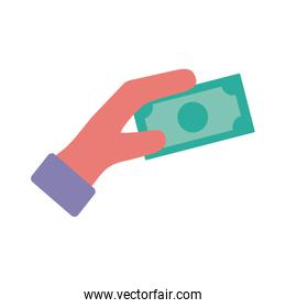 hand with bills dollars flat style icon
