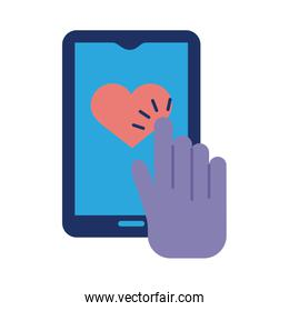 hand indexing heart in smartphone solidarity flat and fill