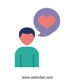 human figure with speech bubble and heart solidarity flat and fill