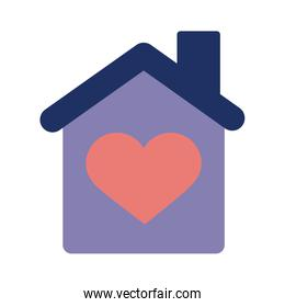 house with heart solidarity flat style