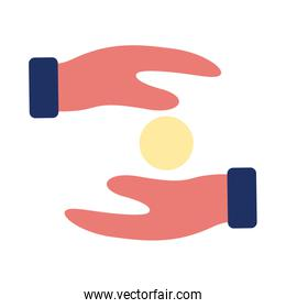 hands humans lifting coins solidarity flat style
