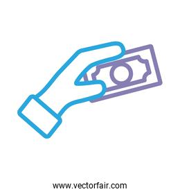 hand with bills dollars line style icon