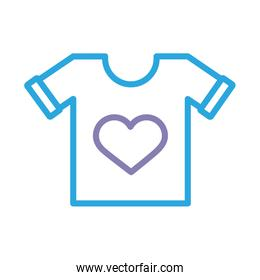 shirt with heart solidarity line style