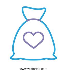 donation bag with heart solidarity line style