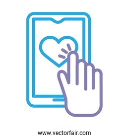 hand indexing heart in smartphone solidarity line and fill