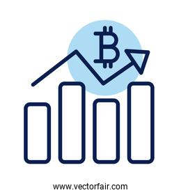 bitcoin with statistics bars crypto currency line style icon