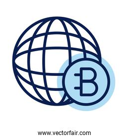 bitecoin with sphere crypto currency line style